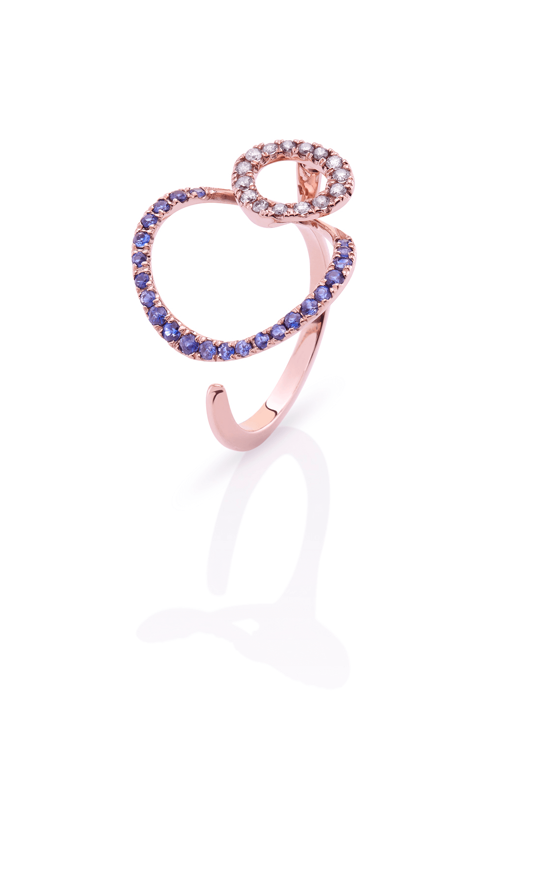 CER005 - Double Circles Blue Sapphire & Diamond Ring