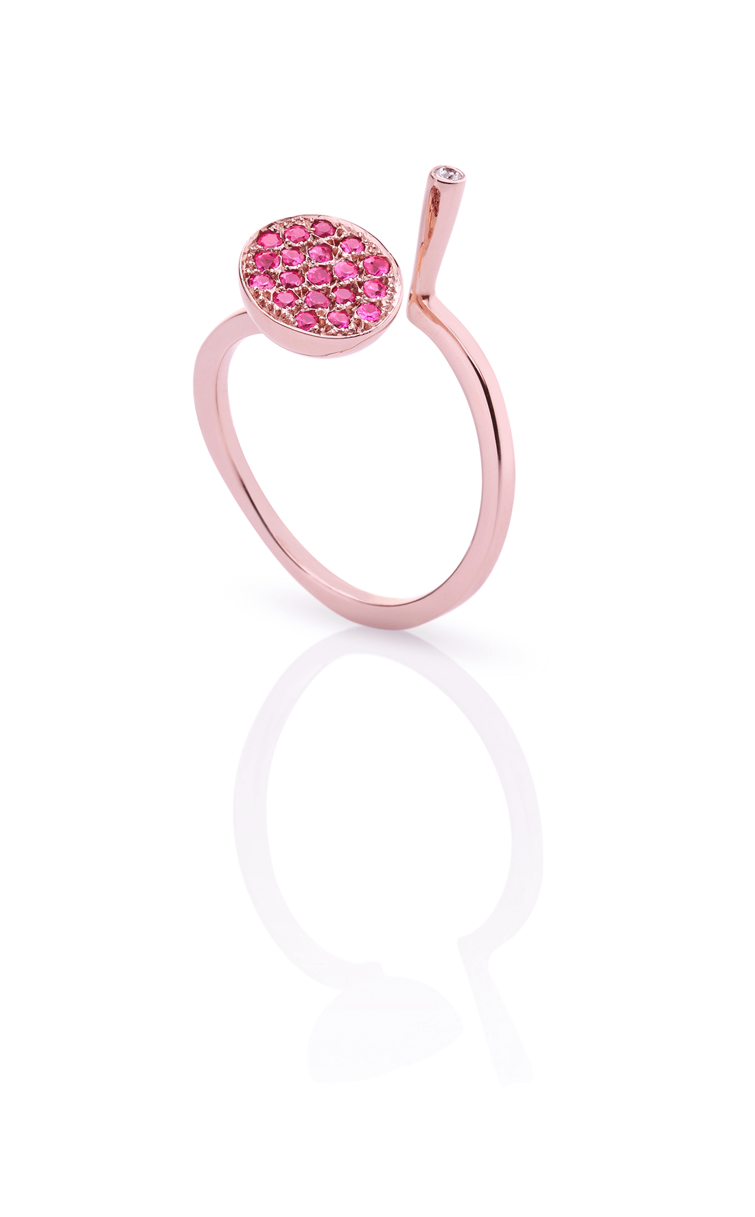 CER008 - Pink Sapphire Ball & Diamond Spike Ring