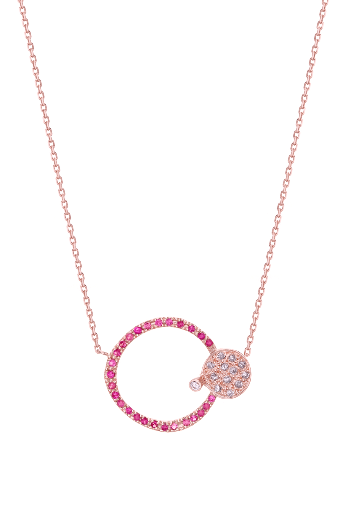 CEN002 - Pink Sapphire Circle and Diamond Spot Necklace