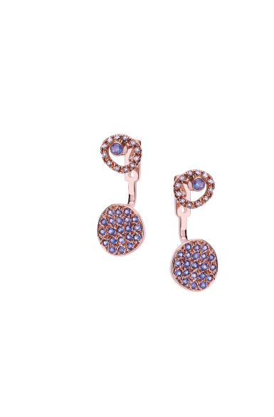CEE012 - Diamond Circle and Blue Sapphire Spot Jacket Earrings