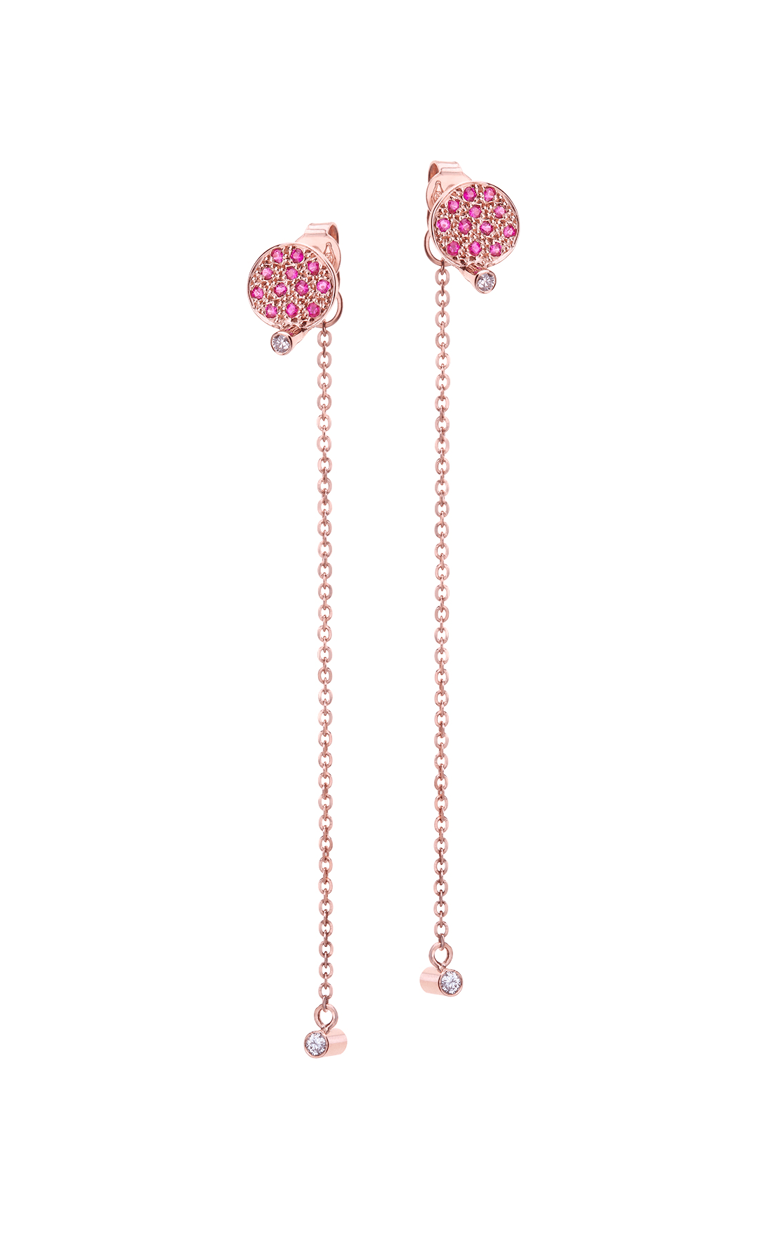 CEE013 - Pink Sapphire Spot and Double White Diamond Chain Drop Jacket Earrings